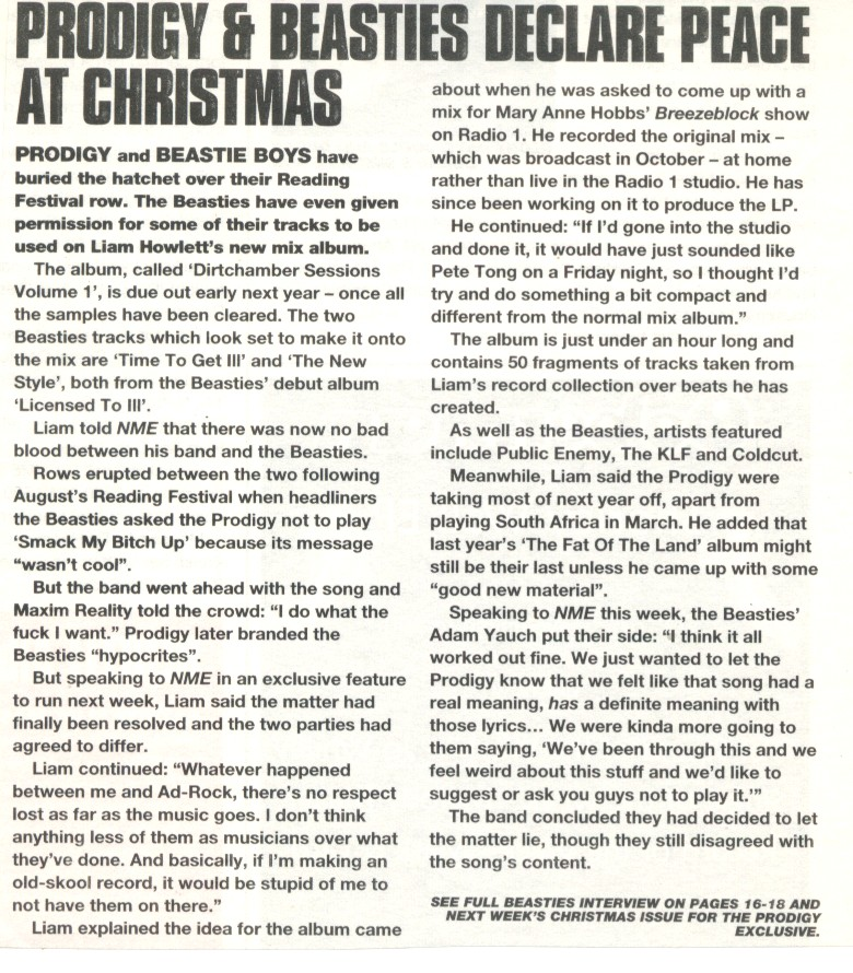 NME - 1998 Prodigy & Beasties Declare Peace at Christmas