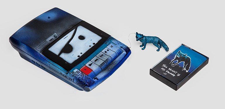 Cassette player customized by Liam for fan giveaway