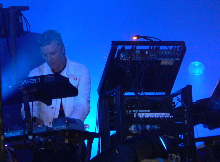 Liam Howlett with his trusty Roland W-30 at Lowlands festival 2005